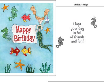Mermaids and Sea Life Happy Birthday Card