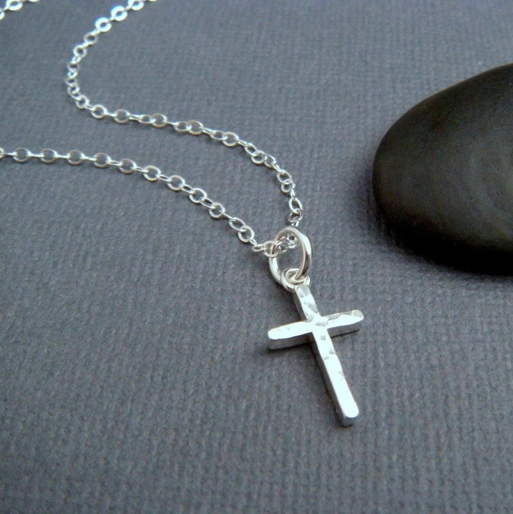 hammered silver cross necklace small sterling silver cross. Black Bedroom Furniture Sets. Home Design Ideas