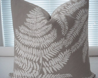 Both Sides-Decorative Pillow Cover - Designer Fabric-Ferns Design-  -Neutral Lumbar  Pillow-Accent Pillow -Cotton - Cream-Taupe