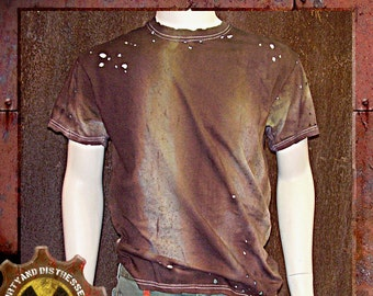 Made to Order a Mens One of a Kind Tan and Tattered Dirty and Distressed Wasteland T-shirt