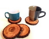 4 Natural Wood Drink Coasters - Cross Cut Douglas Fir Tree Coasters - Uniquely hand crafted - One of a kind sets