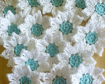 Crochet Daisy Flowers, Handmade, White, Aqua, Appliques - set of 16