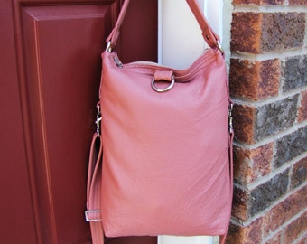 Clearance Sale - Pink Leather fold over bag messenger and shoulder tote purse
