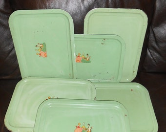 Very vintage sage green trays set of six