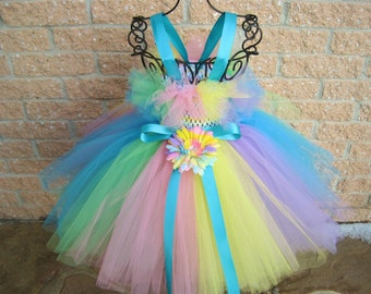RAINBOW TUTU DRESS. Birthday Dress. Flower Girl Gown.  Easter Tutu Dress.  Photo Shoots.  Girl Tutu Dress.  Baptism Gown.  Baby Girl Gifts.