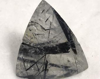 92 carat  ...  faceted rutilated quartz gemstone ... 34 x 33 x 19 MM
