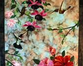 Hummingbird Fiber Art Wallhanging, Handmade Quilt, Floral Scenery