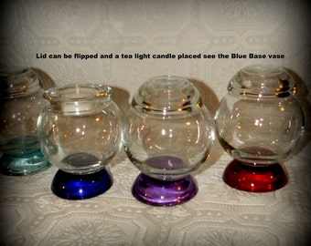 Rolly Polly All Glass terrarium Vase-Colored Glass Vase-Wedding centerpiece-Red Glass-Blue Glass-Purple Glass