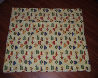 Yellow Flannel and White Fleece Baby Blanket