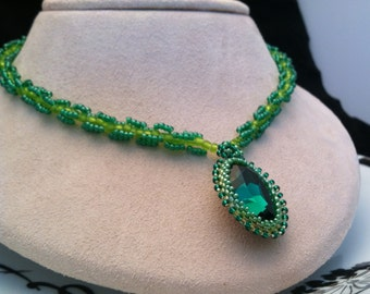 Emerald Green Swarovski Crystal Pendant Beaded Necklace