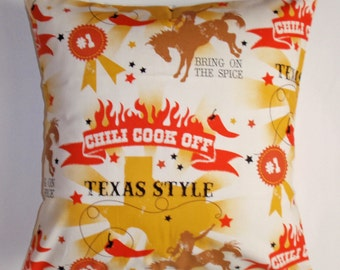 SUMMER SALE - Throw Pillow Cover, Southwestern Chili Cook-Off Quirky Cushion Cover, Handmade Yellow & Red Texas Style Accent Pillow Cover