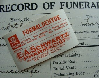 Antique Formaldehyde Pharmacy Gummed Labels