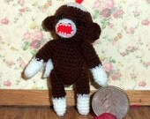 Sock Monkey Miniature Brown Thread Artist Crochet Ready to Ship