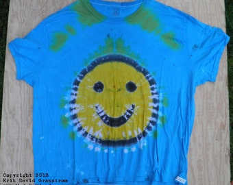 Smiley Face on Blue Tie Dye T-Shirt (Puritan Size 3XL) (One of a Kind)