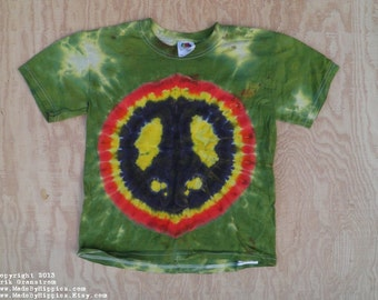 Peace Sign Tie Dye T-Shirt (Fruit of the Loom Size Youth S 6-8) (One of a Kind)