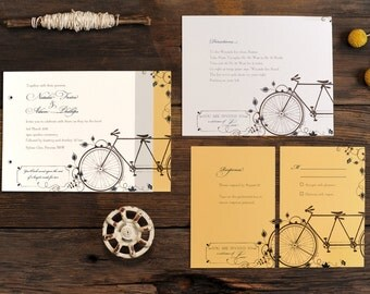 Tandem Bicycle Wedding Invitations - Bike Invite Vintage Floral Summer Set