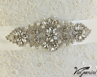 READY TO SHIP Bridal sash, Art Deco bridal sash, wedding sash,  rhinestones and crystal sash, wedding belt, jeweled sash belt