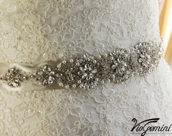 "15"" Rhinestone Sash, Bridal Sash Belt, Wedding Sash Belt, Crystal and Pearl Sash, Wedding Accessories"