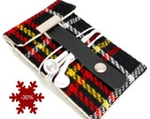iPhone 3 or 4 sleeve - black, red and yellow vintage plaid