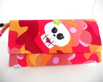 Skully & Flower Wallet / Wristlet / Check Book / Cell Phone / Organizer / Credit Card / ID