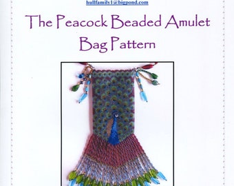 The Peacock Beaded Amulet Bag Pattern and Chart