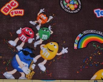 Fat Quarter Colorful  M & M s Gang Candy Print