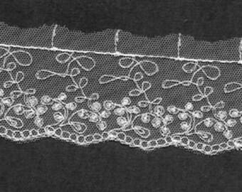 Vintage floral embroidered Ivory lace trim 7yds  (3755)