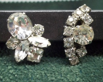 Vintage clear rhinestone clip earrings,Coro and LaRue, clear rhinestones,coro earrings LaRue earrings sold separately or together,