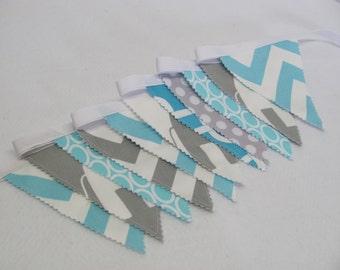 Fabric Banner Bunting Fabric Flags - Elephants Zigzag Chevron Aqua/Grey