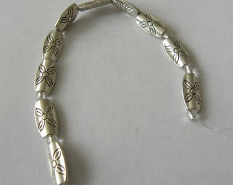"7"" Strand  of Antiqued  Silver Tone Metal  Beads  3 pcs. Ships from USA  Immediately. (Str041)"