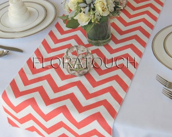 Coral and White Chevron Table Runner Wedding Table Runners