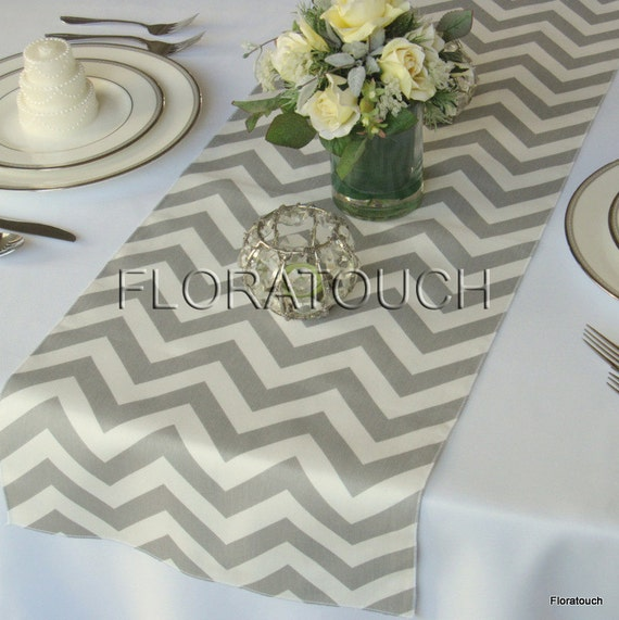 wedding  Wedding and Table Runner floratouch on runner by table grey Gray Etsy White Chevron