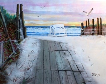Many Days til Summer-original painting-SIGNED PRINTS 8 X 10 -15.00, 11 x 14 - 25.00, 13 X 19- 35.00. Message me and I will list them .