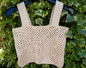 Crochet Beige Camisole, Crop Top, Summer, Cruise, Beach,  Size 0 to 6, Women & Teens