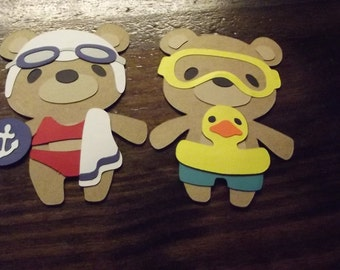 Teddy Bear die cuts- swimming boy and girl