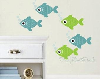 Fish Wall Decal Set of 5 - with bonus water bubbles - Ocean Fish Wall Decals - Fish wall art for bedroom walls - playroom wall decals - fish