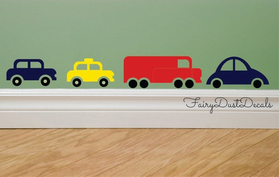 Car wall decals, truck bus taxi, boy bedroom art, vinyl wall stickers, truck wall decal, cars and trucks, nursery wall art, vehicles, cars