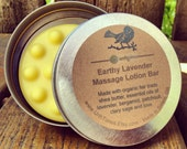 Earthy Lavender Massage Lotion Bar /// Organic Fair Trade Shea Butter /// Essential Oils