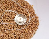 Faith the Size of a Mustard Seed Small Resin Hand Stamped Domed Name Disc Sterling Silver Necklace