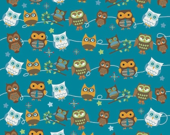 WINTER SALE - Hooty Hoot Returns - FLANNEL -  Roll Call in Blue - sku F3441 - 1 Yard -  by  Doohikey Designs for Riley Blake Designs