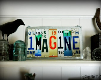 Imagine Sign.  License Plate Art Recycled Metal Art Sign Made To Order