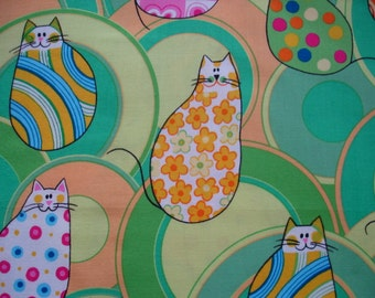 RARE CAT FABRIC Kitty Kaleidoscope Northcott Cat Fabric  - 1 Yard