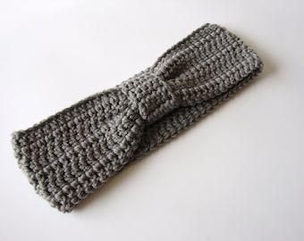 Gray Turban Knot, Crochet Headband, Grey Earwarmer, Bow Headwrap, MADE TO ORDER