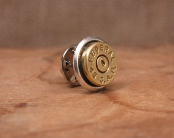 Bullet Jewelry - Gift for Man - 45 GAP - Brass Bullet Casing Tie Tack / Lapel Pin / Hat Pin  - Groomsmen Gifts