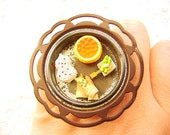 Traditional Japanese Food Ring  Miniature  Food Jewelry Statement Ring