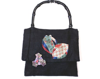 Vintage 70s Influences of the East Handbag with Wooden Handles