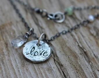sterling silver love charm necklace . white topaz teardrop love talisman necklace . tudor rose necklace necklace . valentine ready to ship