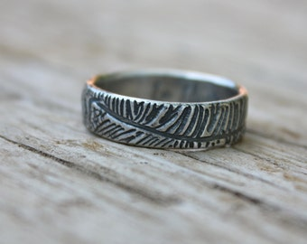 bohemian feather wedding band ring . recycled silver shakespeare quote ring by peacesofindigo size 9.5 ready to ship