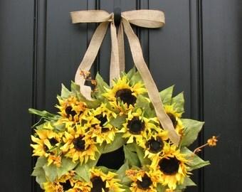 Sunflower Wreath,Summer Wreath, Sunflower Bouquet,Summer Sun,Door Wreath, Shabby Chic Decor, Country French, Sunflower Fields