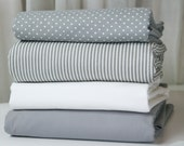 """Baby bedding - Basic collection -  2pc Crib Set - Bumper and 4"""" trim Box pleat skirt - choose your fabric"""